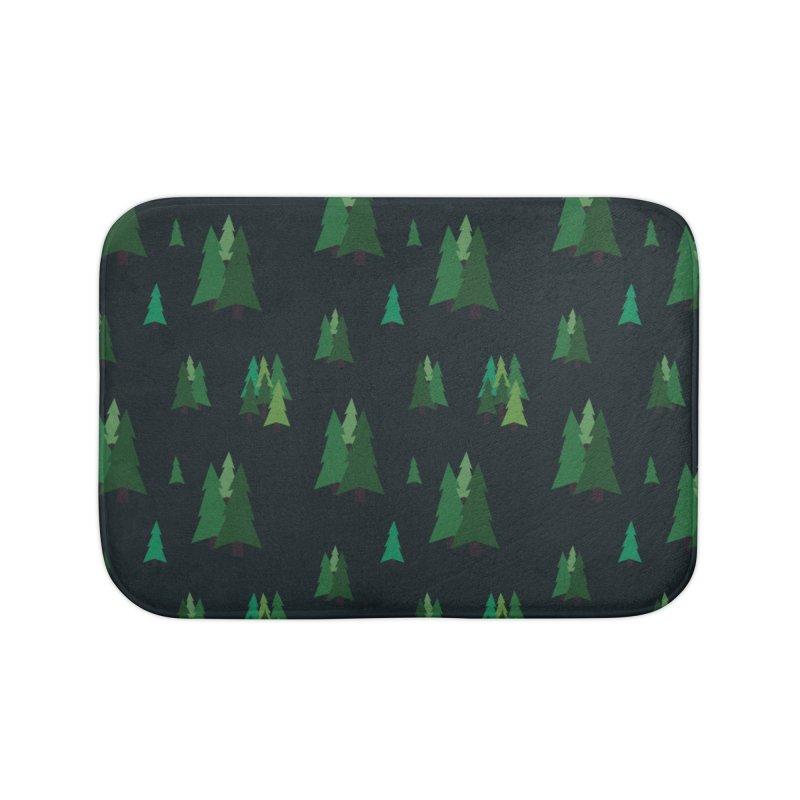 Pine Trees Home Bath Mat by Svaeth's Artist Shop