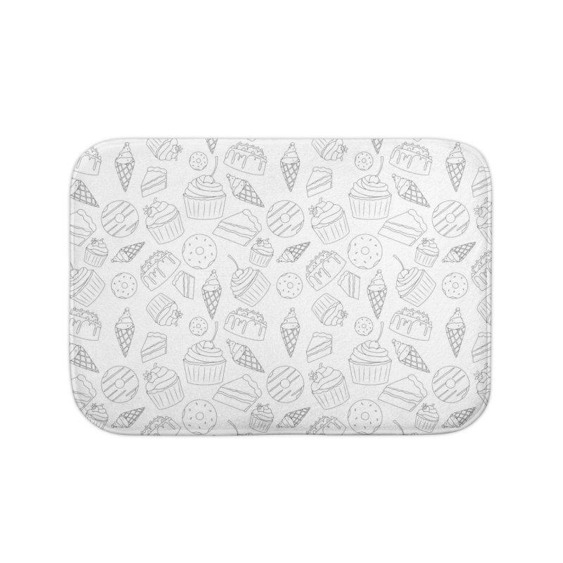 Sweets & Treats - Black & White Home Bath Mat by Svaeth's Artist Shop