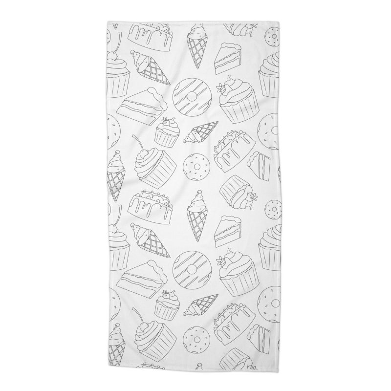 Sweets & Treats - Black & White Accessories Beach Towel by Svaeth's Artist Shop