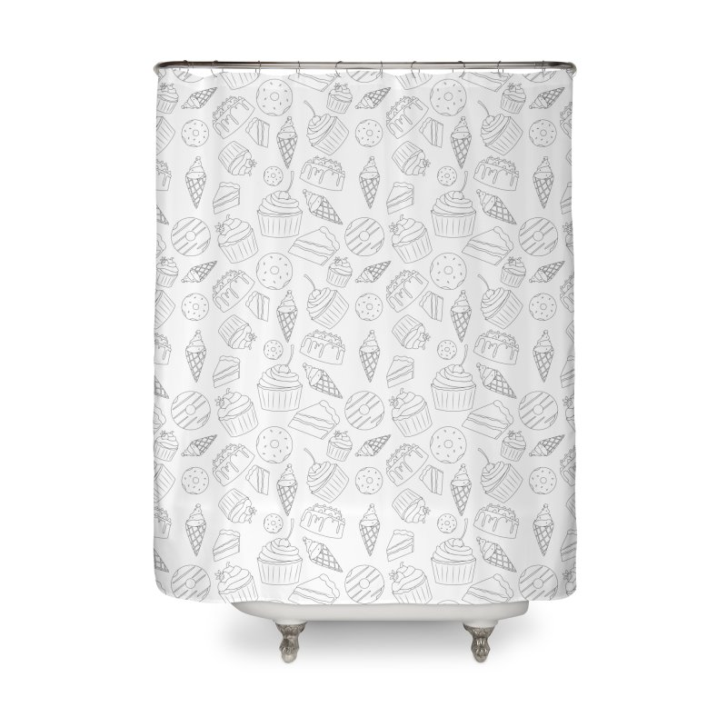 Sweets & Treats - Black & White Home Shower Curtain by Svaeth's Artist Shop