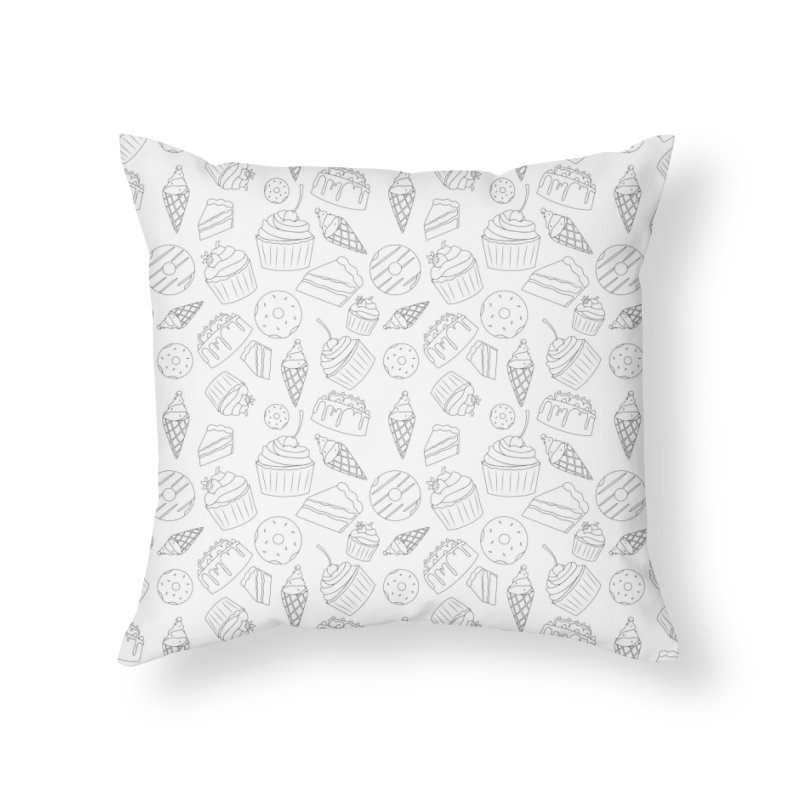 Sweets & Treats - Black & White Home Throw Pillow by Svaeth's Artist Shop