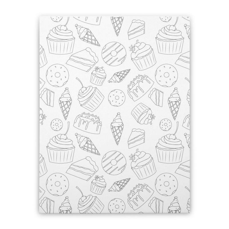 Sweets & Treats - Black & White Home Stretched Canvas by Svaeth's Artist Shop