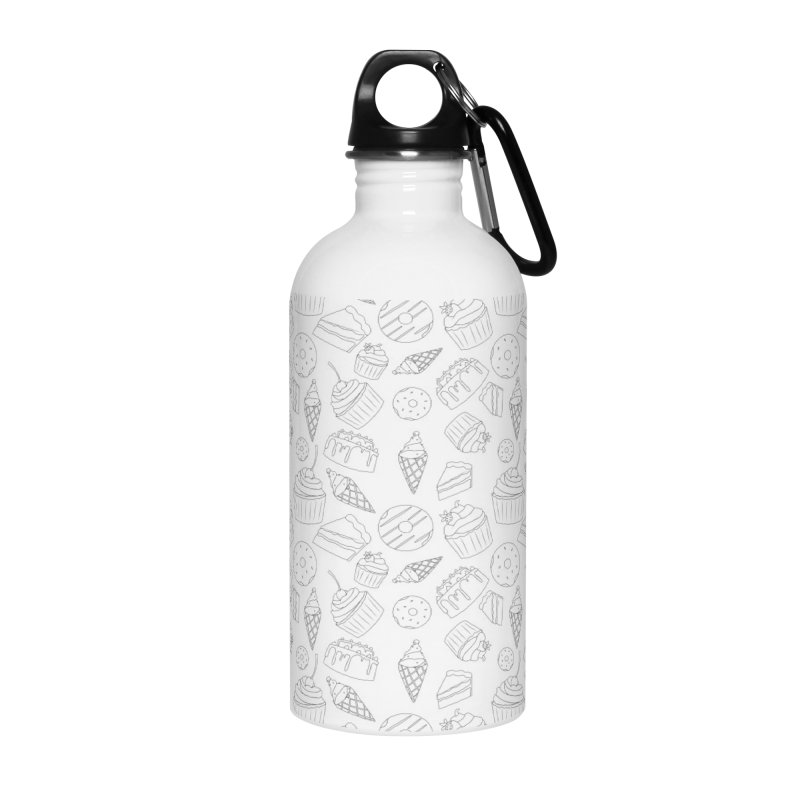 Sweets & Treats - Black & White Accessories Water Bottle by Svaeth's Artist Shop