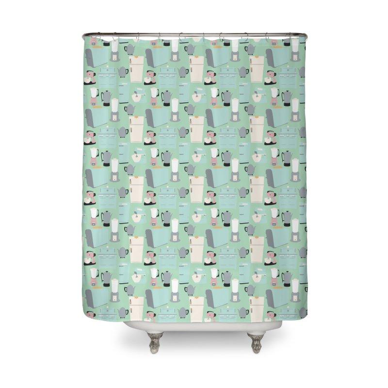 Retro Kitchen Home Shower Curtain by Svaeth's Artist Shop