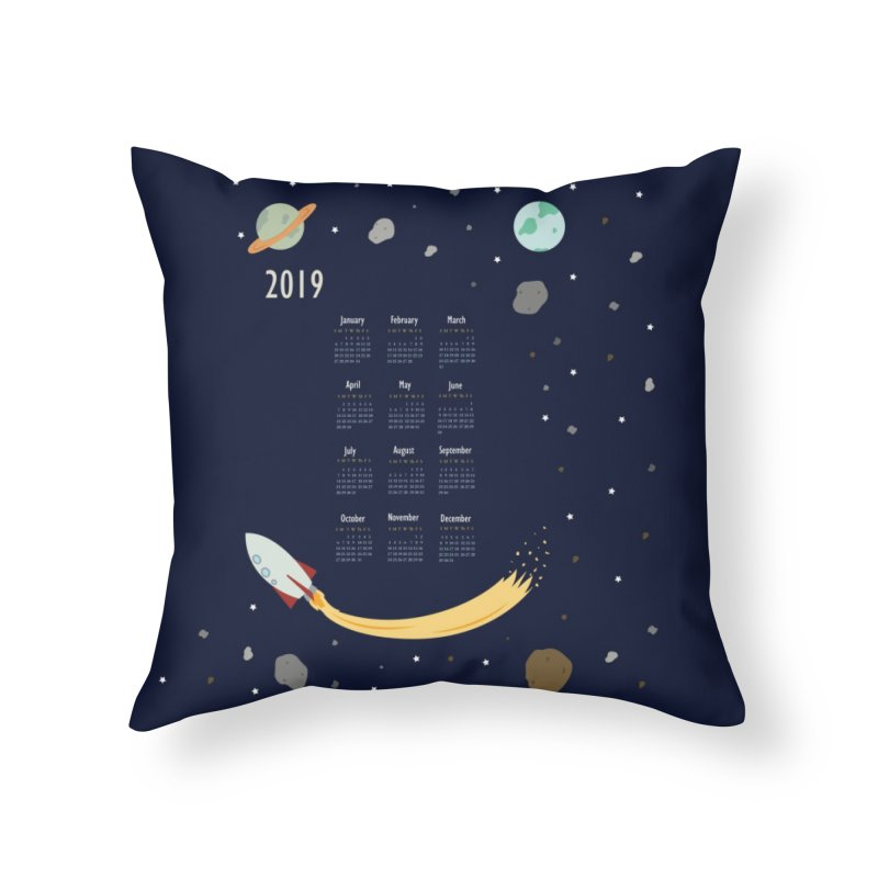 2019 Outer Space Calendar Home Throw Pillow by Svaeth's Artist Shop