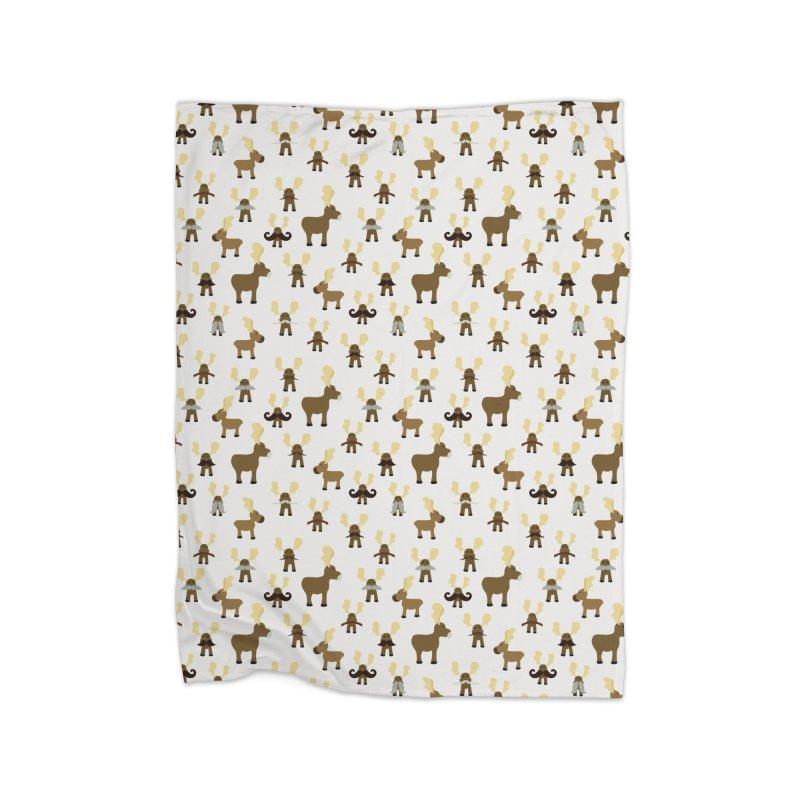 Moosestaches Home Fleece Blanket Blanket by Svaeth's Artist Shop