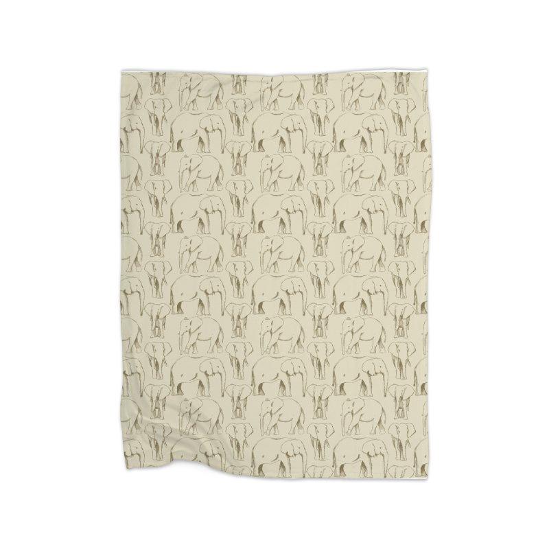 Sketch Book Elephants Home Fleece Blanket Blanket by Svaeth's Artist Shop