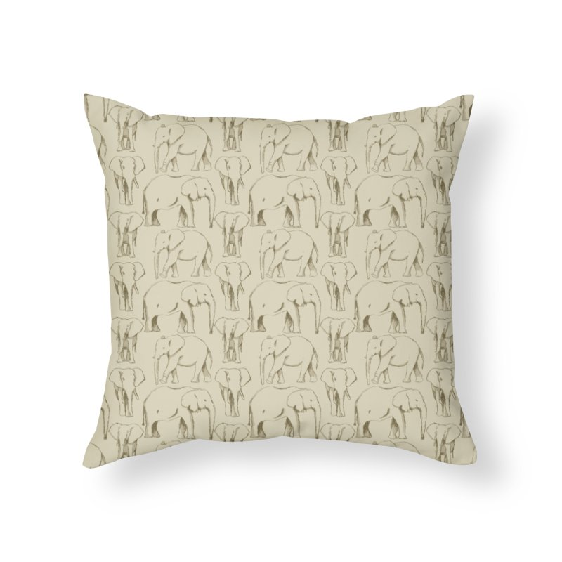 Sketch Book Elephants Home Throw Pillow by Svaeth's Artist Shop