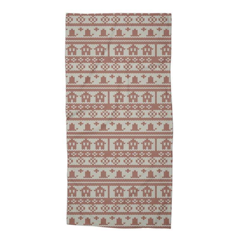 Winter Knitting Accessories Beach Towel by Svaeth's Artist Shop