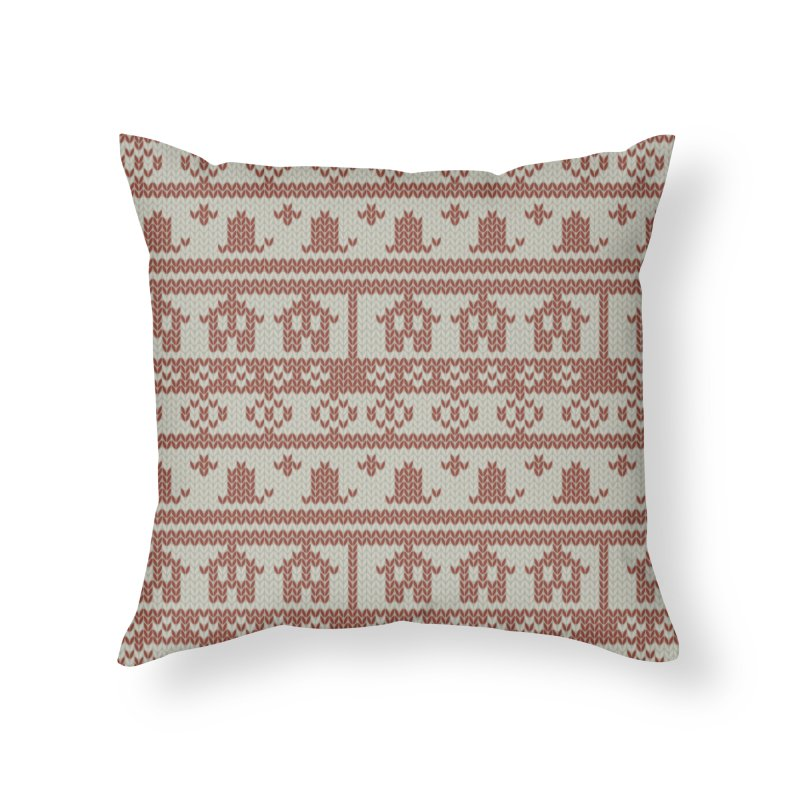 Winter Knitting Home Throw Pillow by Svaeth's Artist Shop