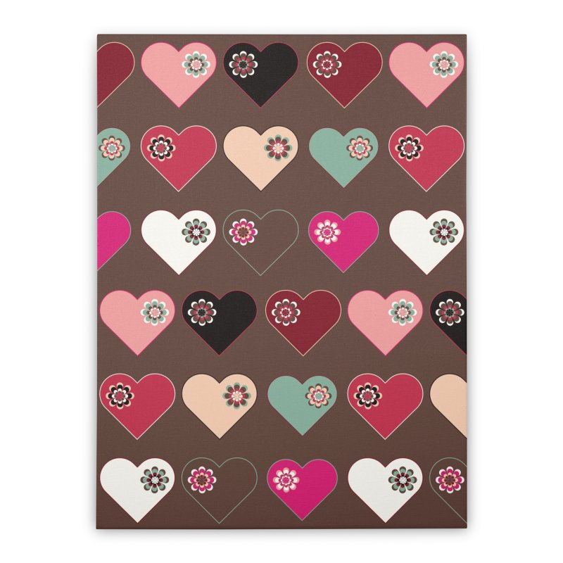 Flower Hearts Home Stretched Canvas by Svaeth's Artist Shop