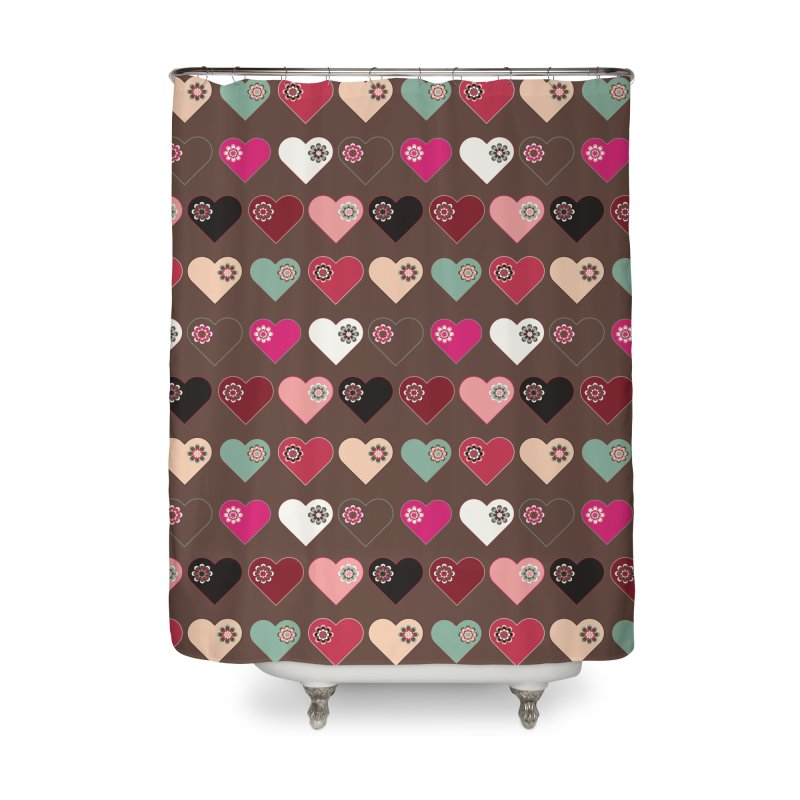 Flower Hearts Home Shower Curtain by Svaeth's Artist Shop