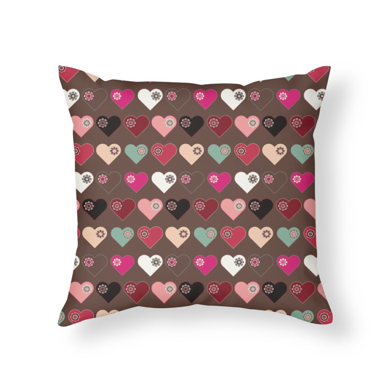 Flower Hearts Home Throw Pillow by Svaeth's Artist Shop