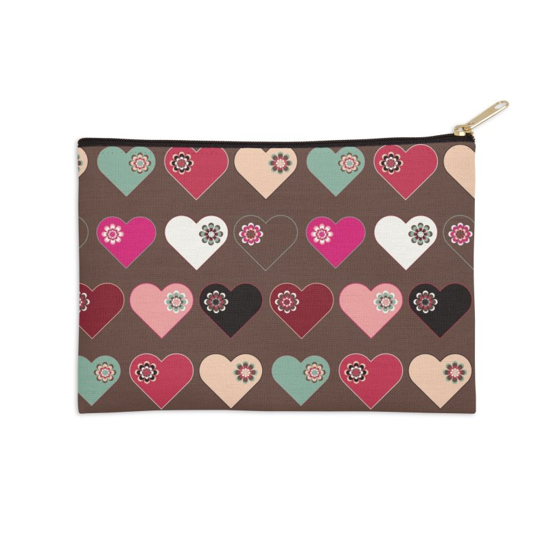 Flower Hearts Accessories Zip Pouch by Svaeth's Artist Shop