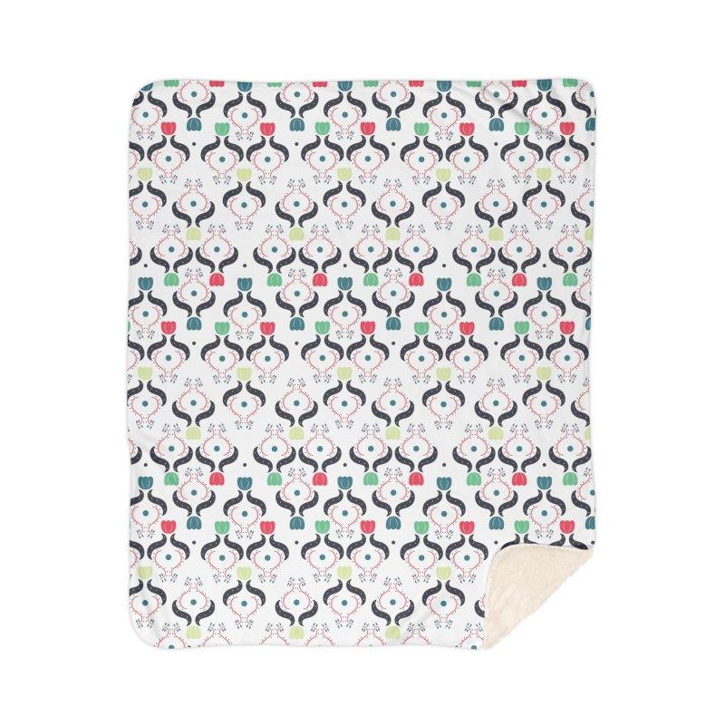 Floral Folk Art Home Sherpa Blanket Blanket by Svaeth's Artist Shop