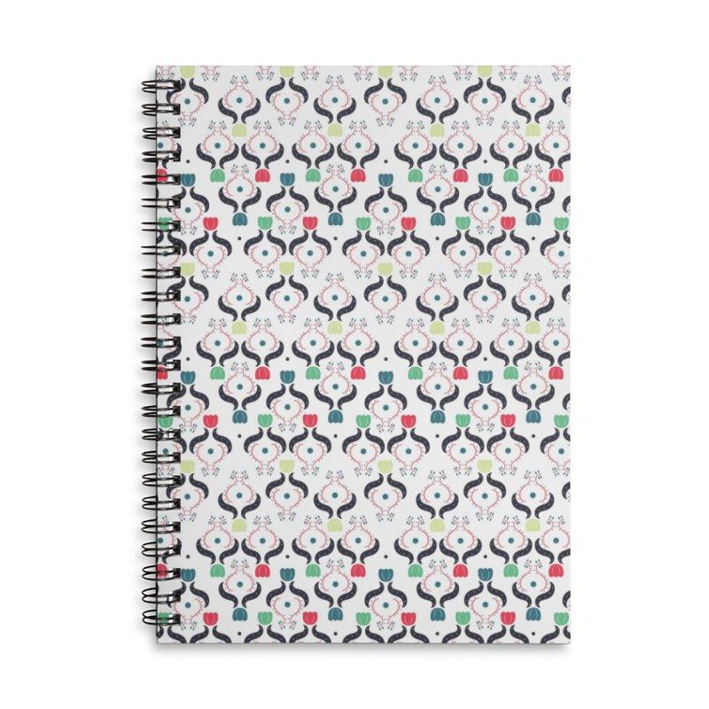 Floral Folk Art Accessories Lined Spiral Notebook by Svaeth's Artist Shop