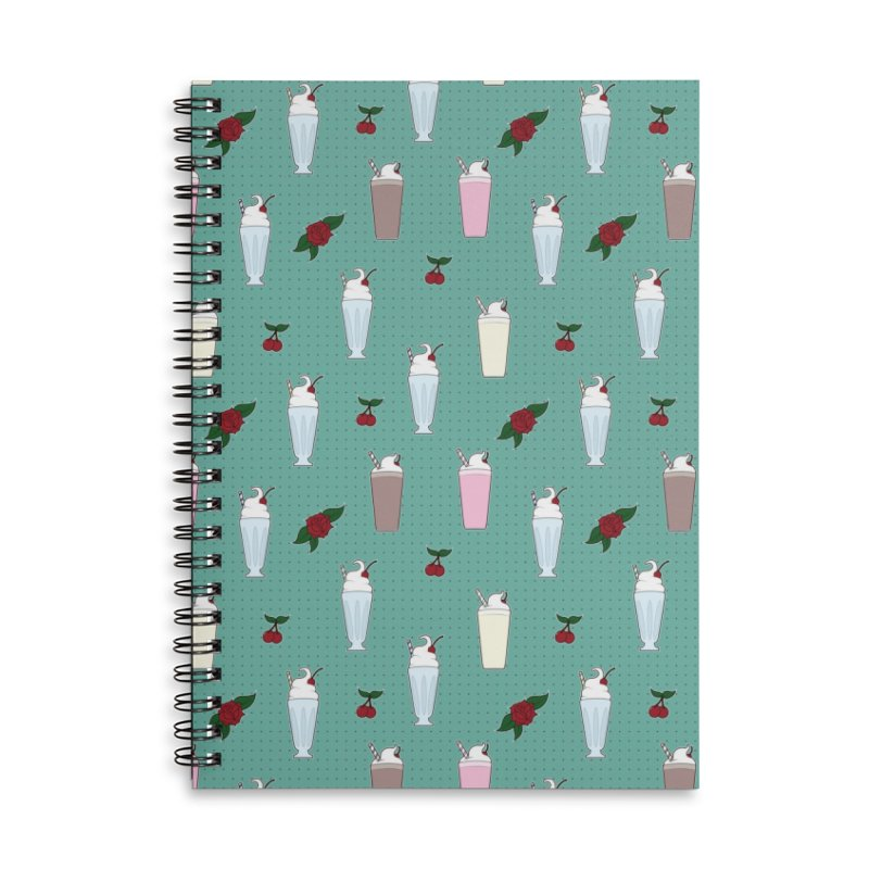 Rockabilly Milkshakes Accessories Lined Spiral Notebook by Svaeth's Artist Shop