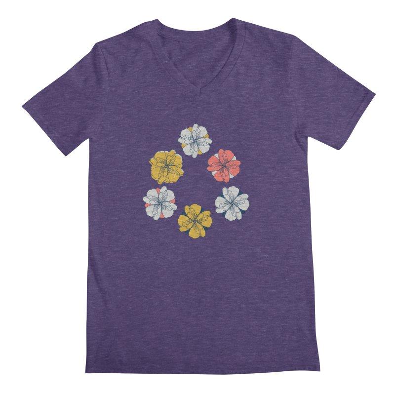 Springtime Floral Men's V-Neck by Svaeth's Artist Shop