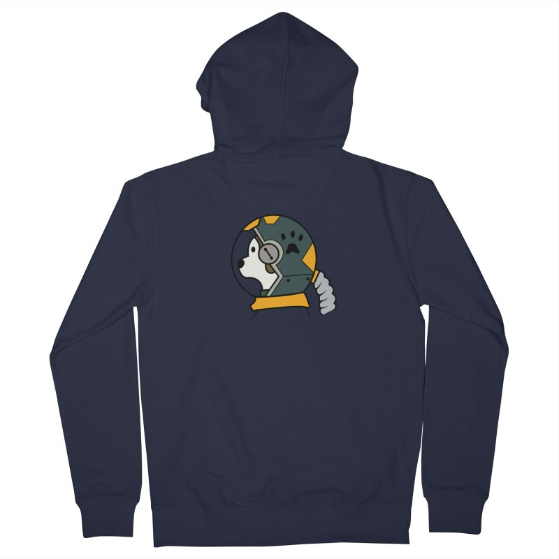 Space Dog Men's French Terry Zip-Up Hoody by Svaeth's Artist Shop