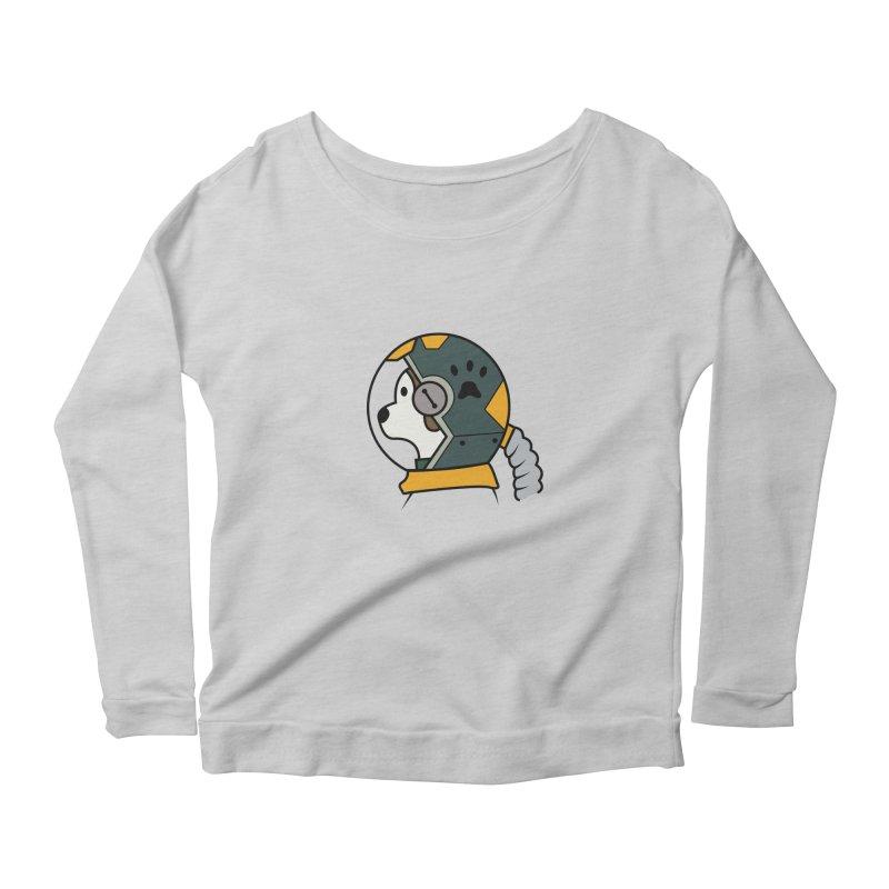 Space Dog Women's Scoop Neck Longsleeve T-Shirt by Svaeth's Artist Shop