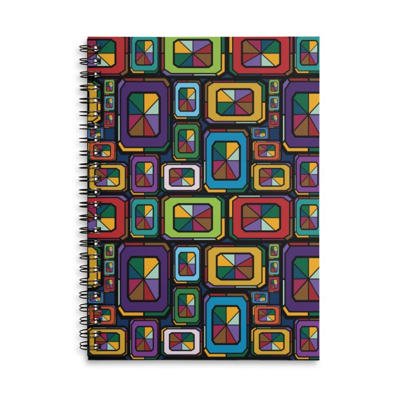 Stained Glass Gems Accessories Lined Spiral Notebook by Svaeth's Artist Shop