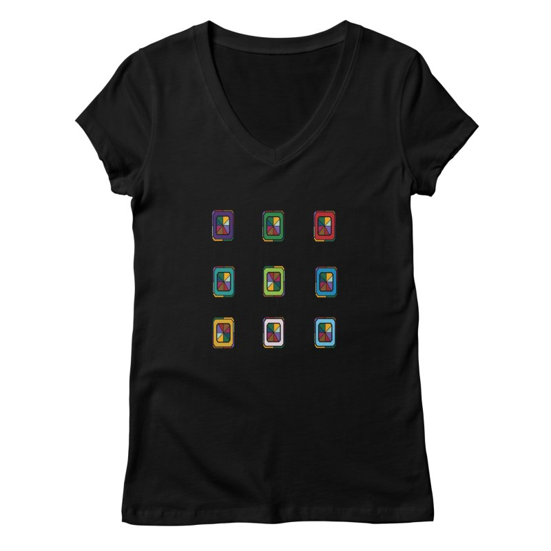 Stained Glass Gems Women's V-Neck by Svaeth's Artist Shop