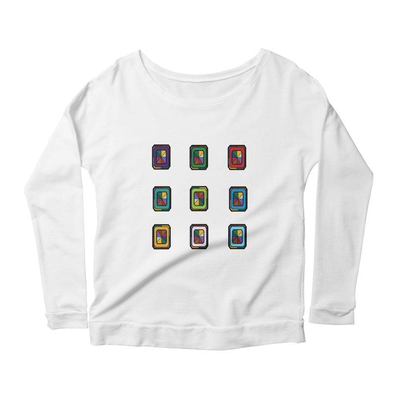 Stained Glass Gems Women's Scoop Neck Longsleeve T-Shirt by Svaeth's Artist Shop