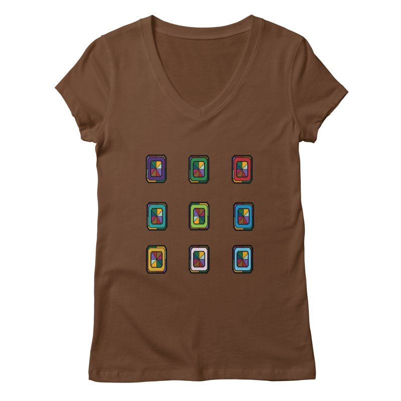 Stained Glass Gems Women's Regular V-Neck by Svaeth's Artist Shop