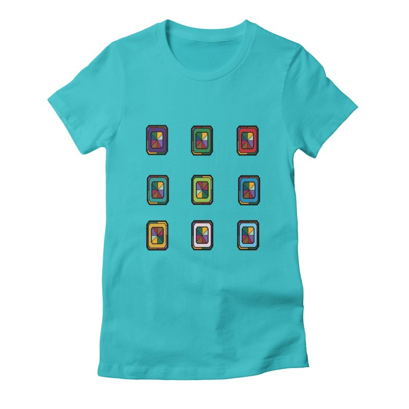 Stained Glass Gems Women's Fitted T-Shirt by Svaeth's Artist Shop
