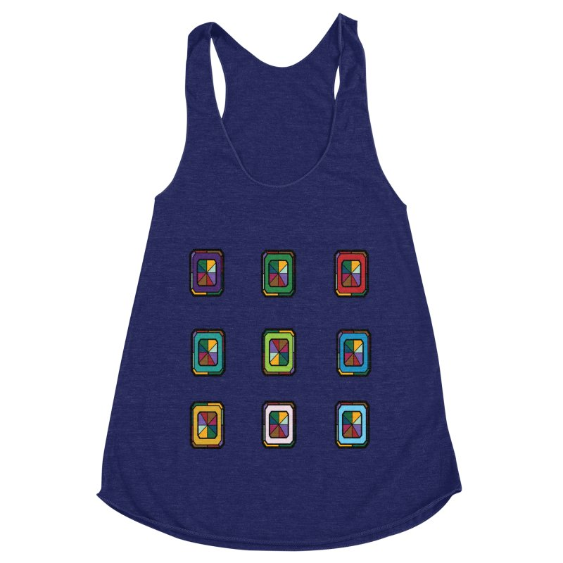 Stained Glass Gems Women's Racerback Triblend Tank by Svaeth's Artist Shop