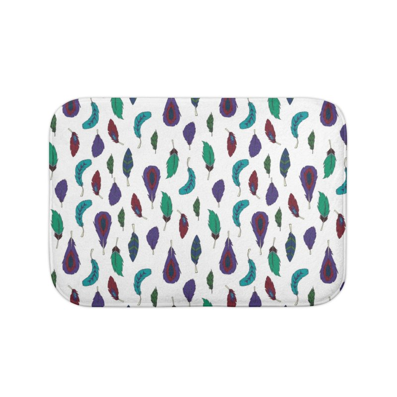 Vibrant Feathers Home Bath Mat by Svaeth's Artist Shop