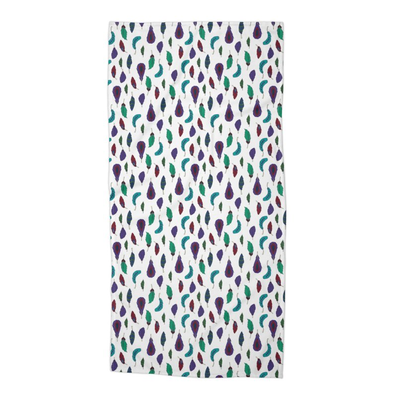 Vibrant Feathers Accessories Beach Towel by Svaeth's Artist Shop