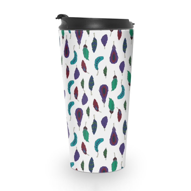 Vibrant Feathers Accessories Travel Mug by Svaeth's Artist Shop