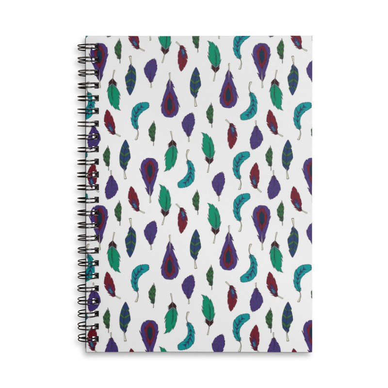 Vibrant Feathers Accessories Lined Spiral Notebook by Svaeth's Artist Shop