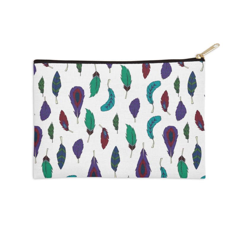 Vibrant Feathers Accessories Zip Pouch by Svaeth's Artist Shop