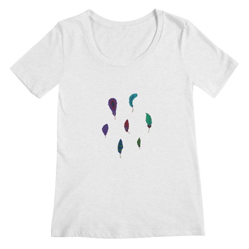 Vibrant Feathers Women's Regular Scoop Neck by Svaeth's Artist Shop