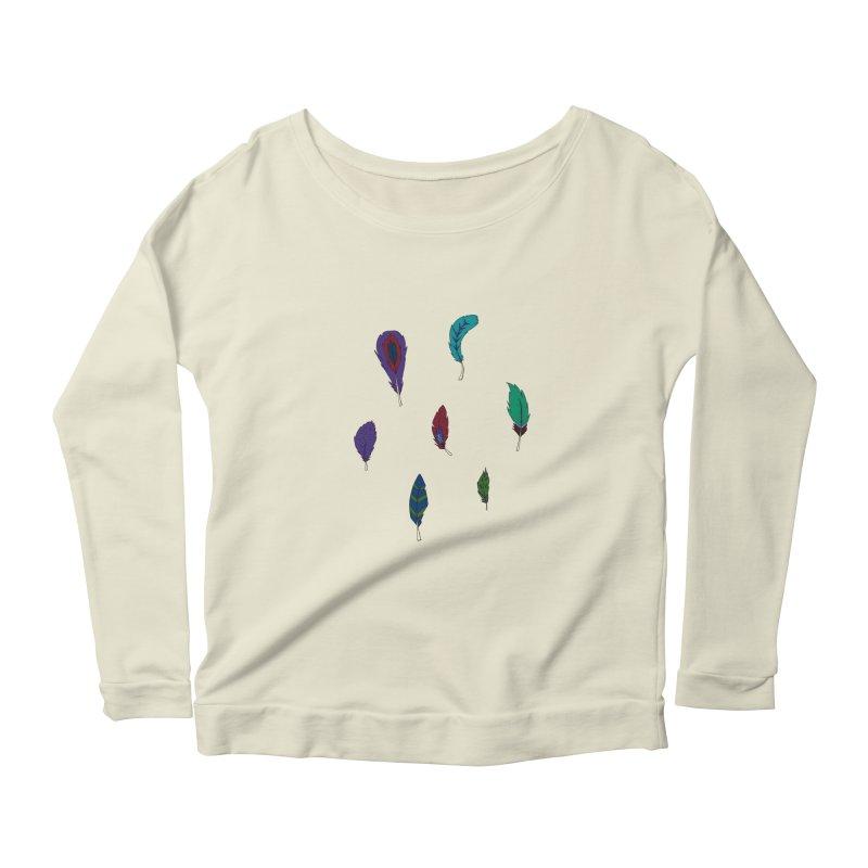 Vibrant Feathers Women's Scoop Neck Longsleeve T-Shirt by Svaeth's Artist Shop