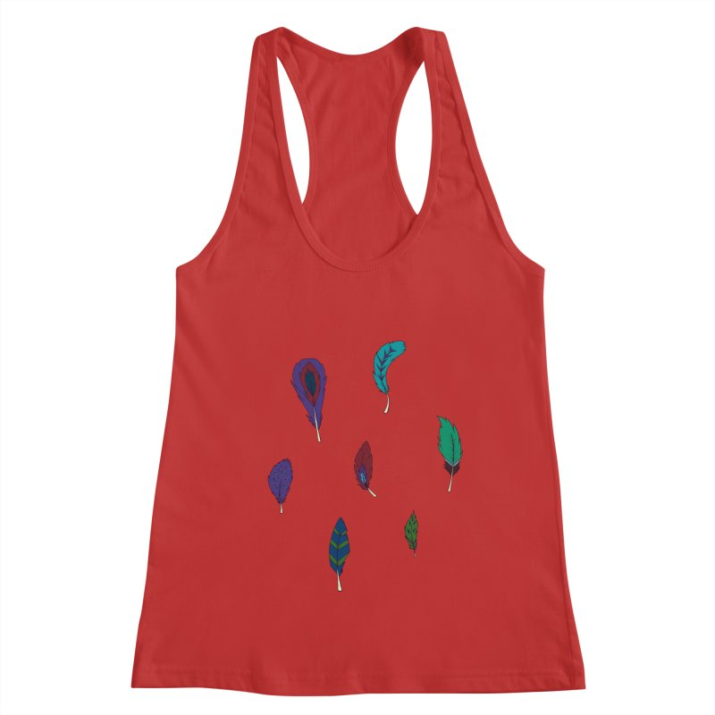 Vibrant Feathers Women's Racerback Tank by Svaeth's Artist Shop