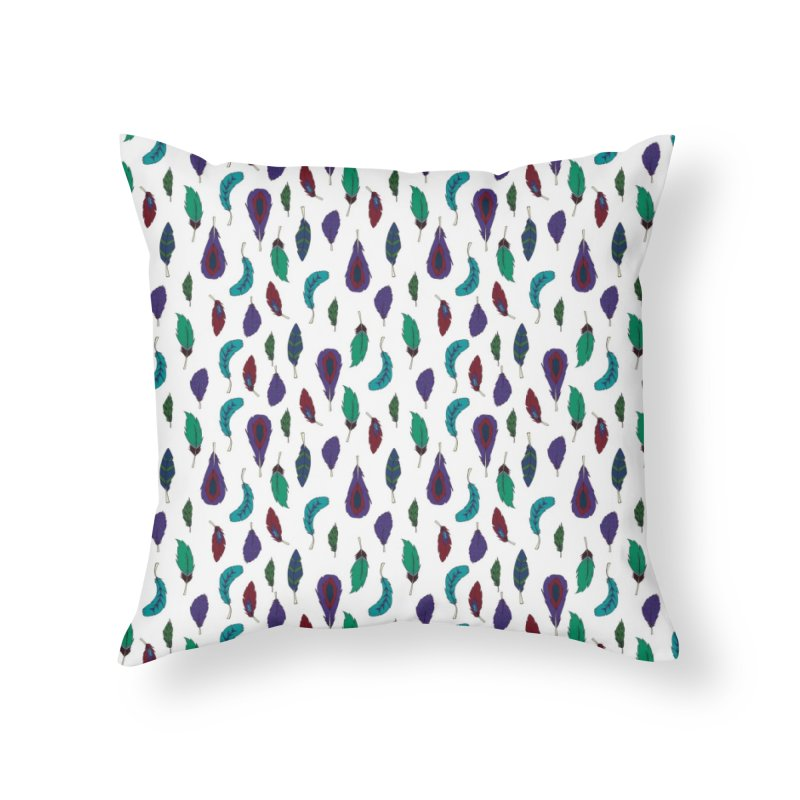 Vibrant Feathers Home Throw Pillow by Svaeth's Artist Shop