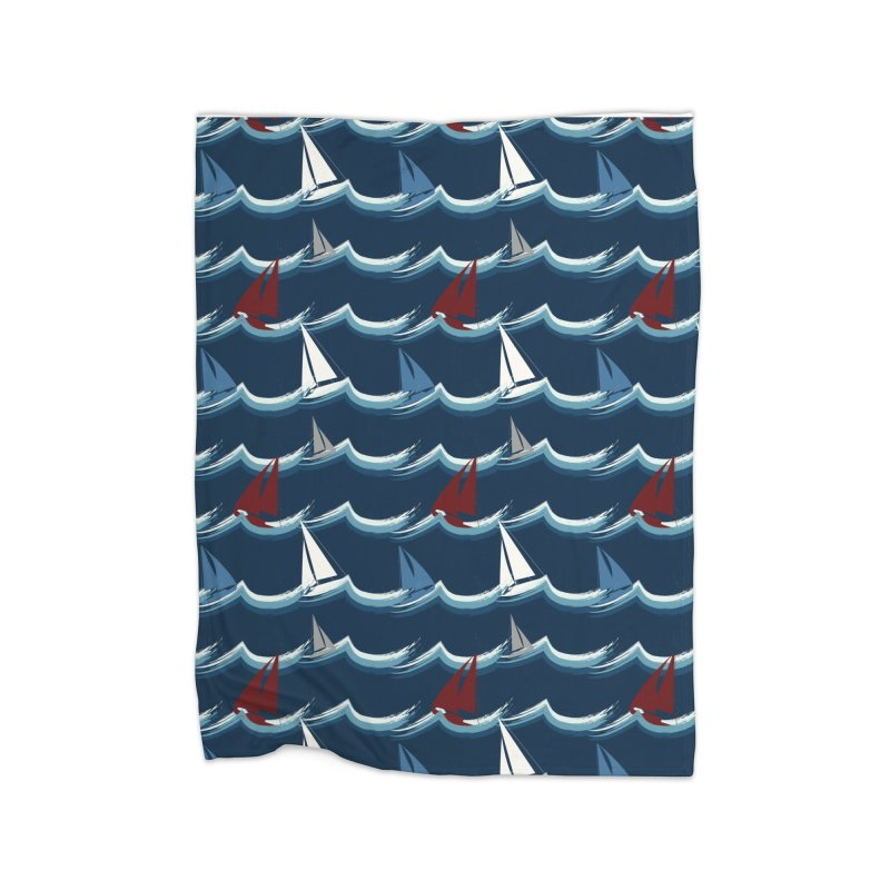 Nautical Sailing Home Fleece Blanket Blanket by Svaeth's Artist Shop
