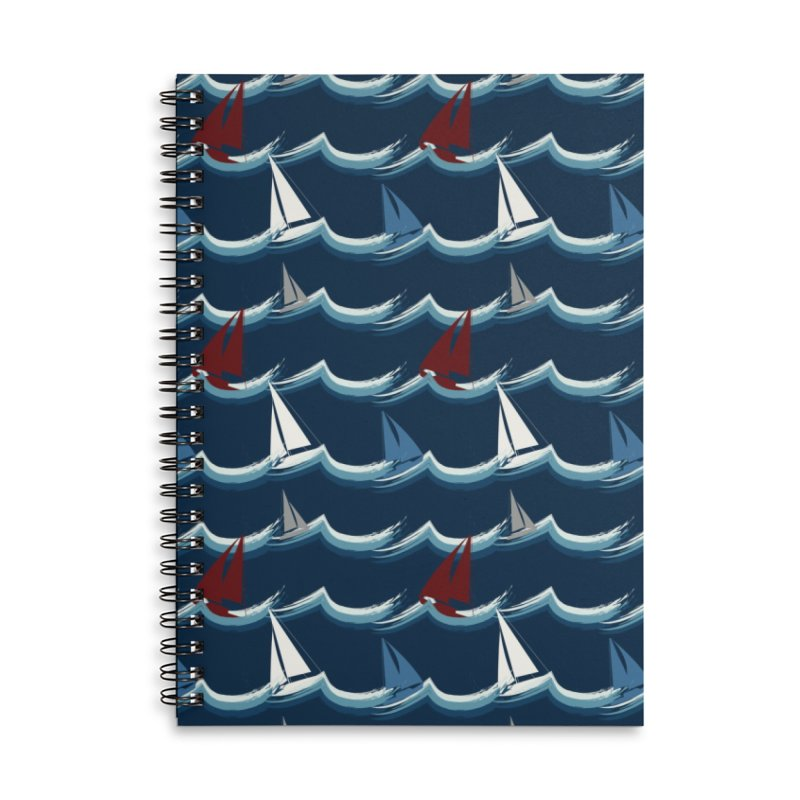 Nautical Sailing Accessories Lined Spiral Notebook by Svaeth's Artist Shop
