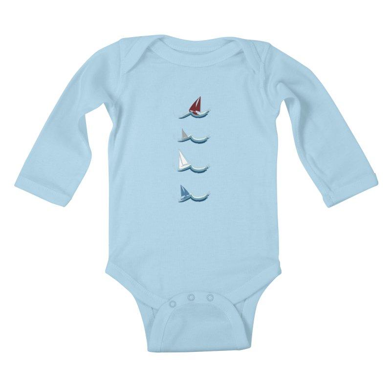 Nautical Sailing Kids Baby Longsleeve Bodysuit by Svaeth's Artist Shop