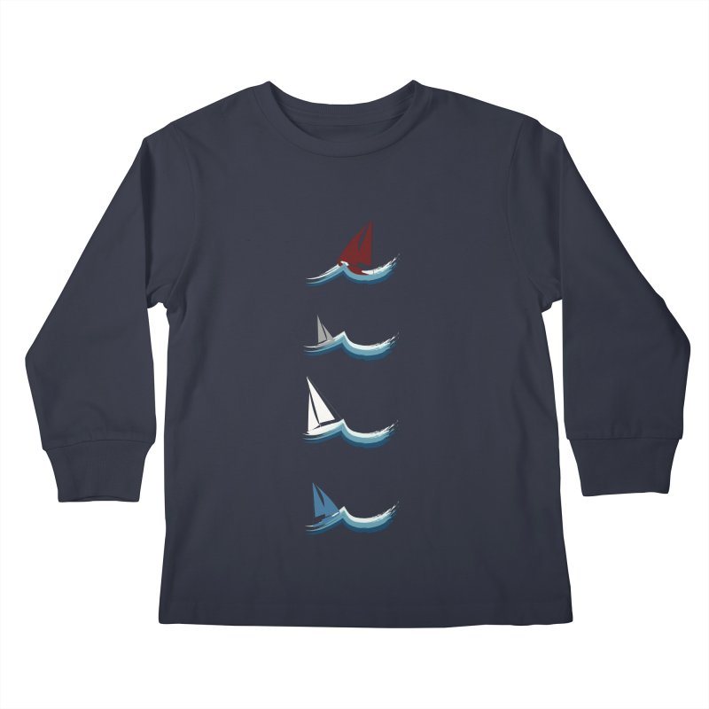 Nautical Sailing Kids Longsleeve T-Shirt by Svaeth's Artist Shop
