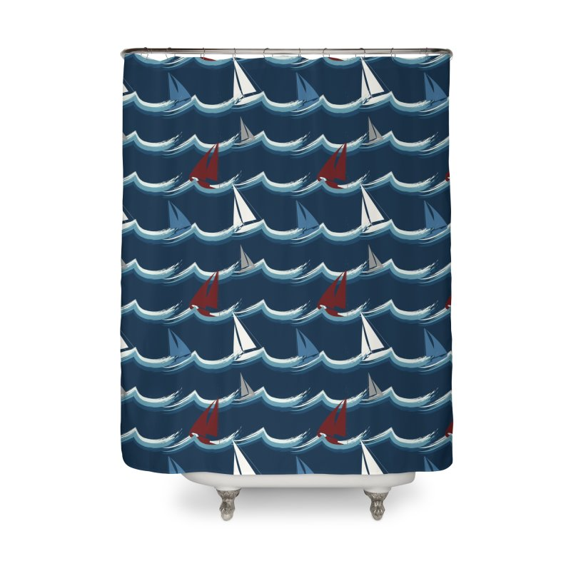 Nautical Sailing Home Shower Curtain by Svaeth's Artist Shop