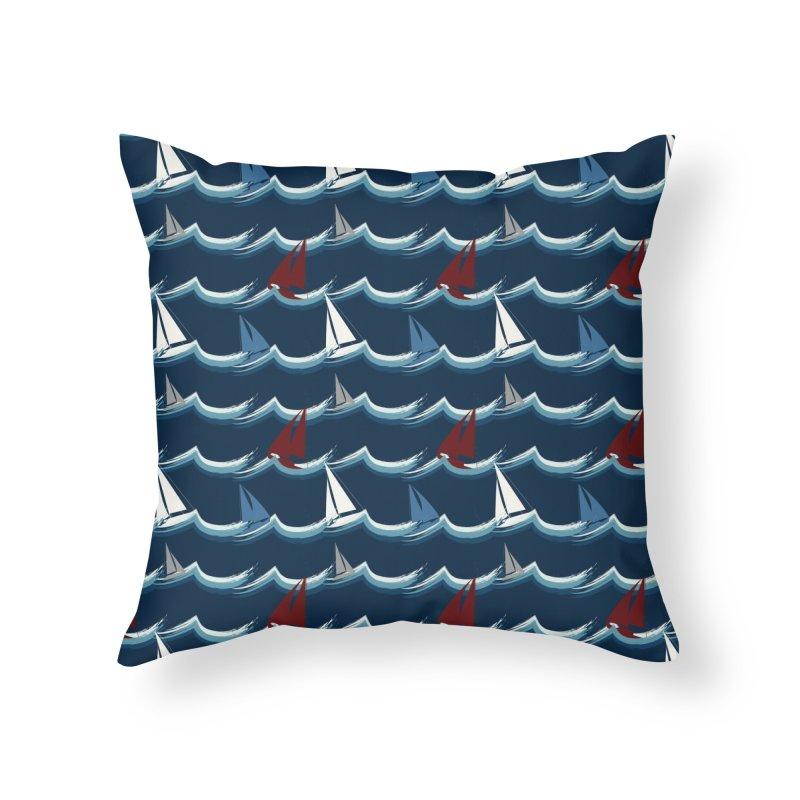 Nautical Sailing Home Throw Pillow by Svaeth's Artist Shop
