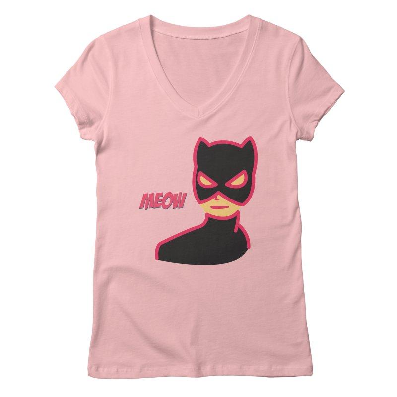 Catwoman Women's V-Neck by Gazzarro Designs