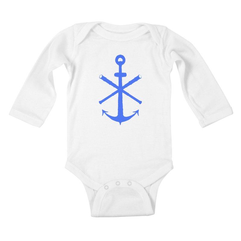 All Ways But Still Oversized Logo - Blue Kids Baby Longsleeve Bodysuit by Sailor James