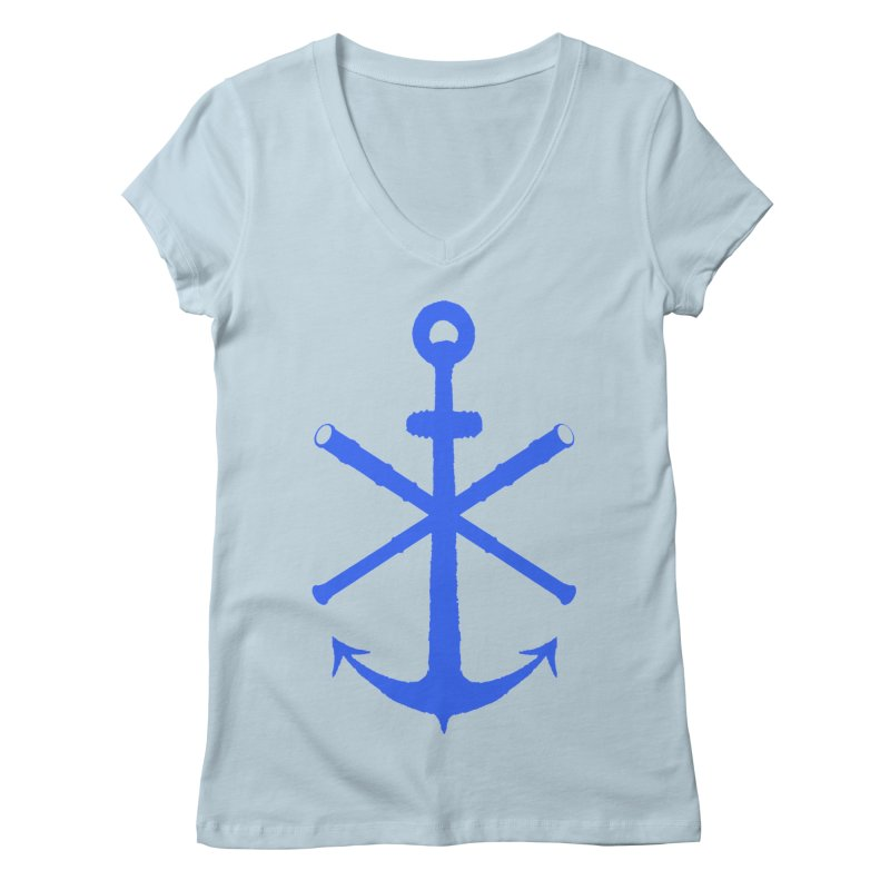 All Ways But Still Oversized Logo - Blue Women's Regular V-Neck by Sailor James