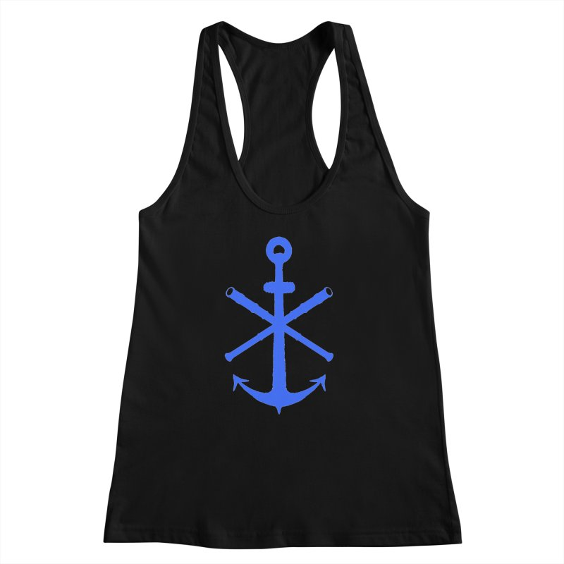 All Ways But Still Oversized Logo - Blue Women's Racerback Tank by Sailor James