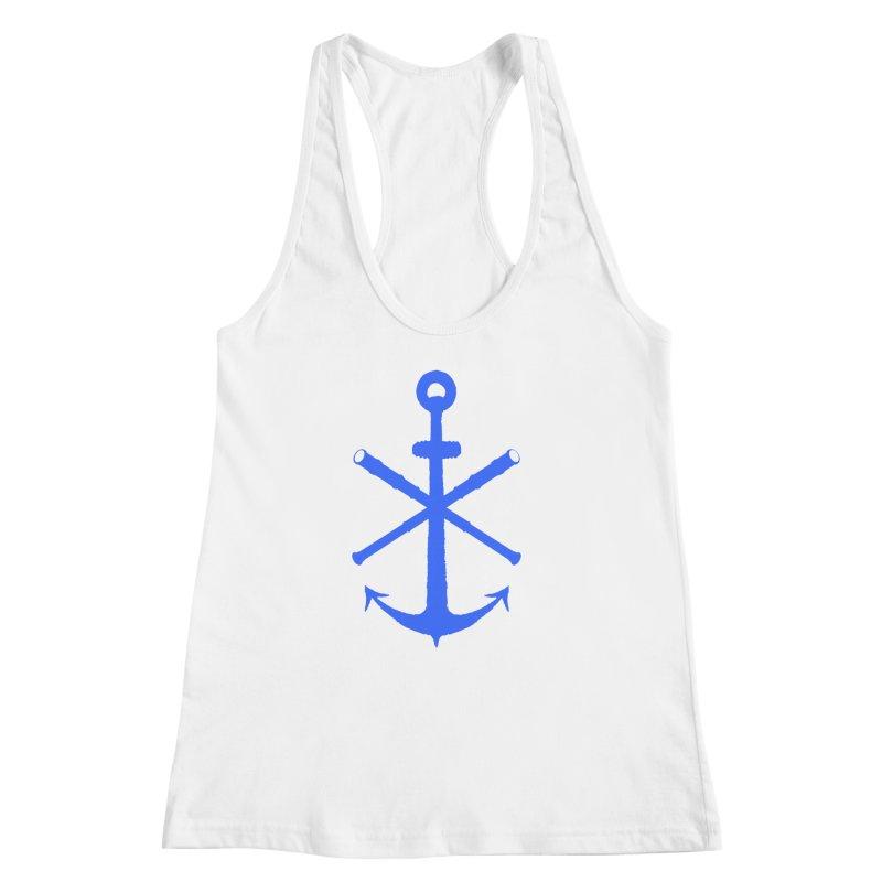 All Ways But Still Oversized Logo - Blue Women's Racerback Tank by Sailor James